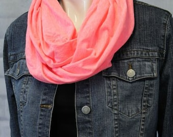 Hot Pink Infinity Scarf - Neon Pink - Travel Scarf - Cotton Scarf - Coral Circle Scarf - Circle Scarf - Pink Fabric Scarf - Jersey Cotton