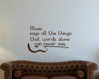 Wall Decals Quotes - Music Says All The Things Quote Decal Guitar Vinyl Sticker Bedroom Home Decor Wall Mural Family Art Dorm aa108