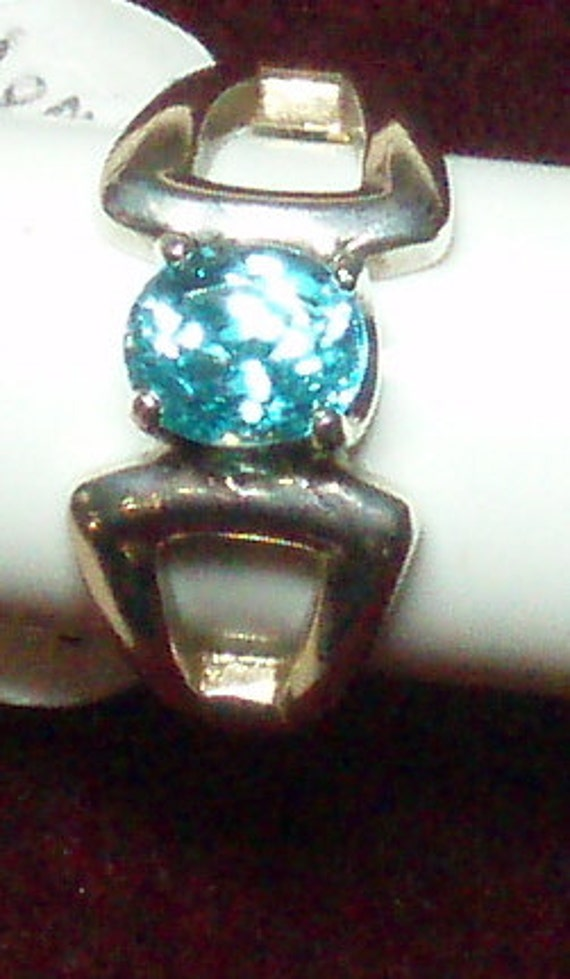 Natural Cambodian Blue Zircon and Sterling Silver Ring