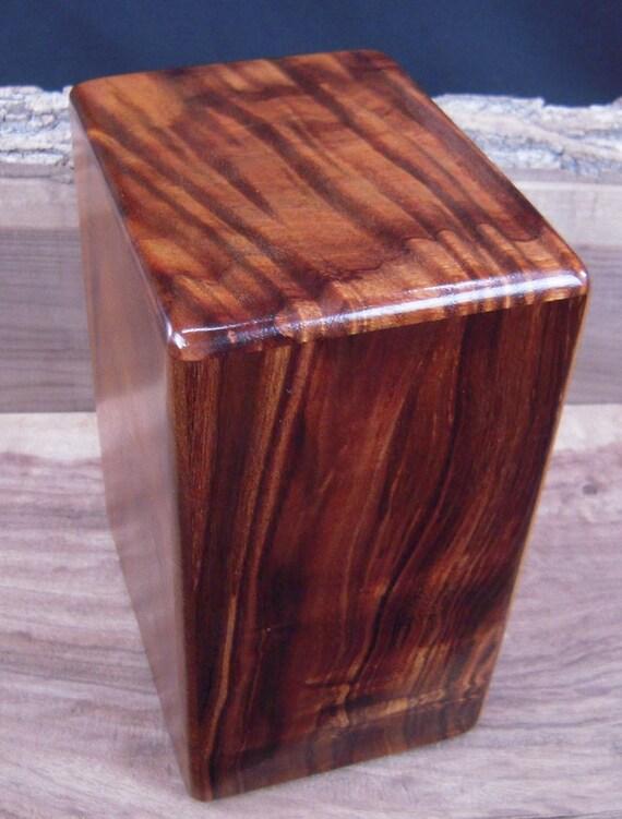 "Large Curly Hawaiian Koa Memorial Cremation Urn... 7""wide x 5""deep x 9""high LK030217-C Wooden Urn"