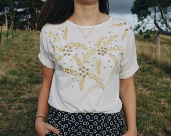 Vintage Gold Beaded and Embroidered White Tshirt