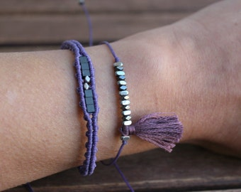 Purple bracelet set Macrame jewelry Gift for her Minimal jewelry Christmas gift