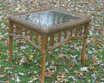 Vintage Wicker And Rattan Side Table, Outdoor Table, Vintage Bamboo Side  Table With Glass