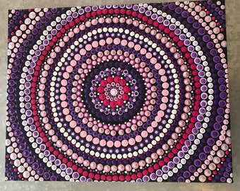Table mandala tone of pink and mauve, acrylic painted by myself and varnish