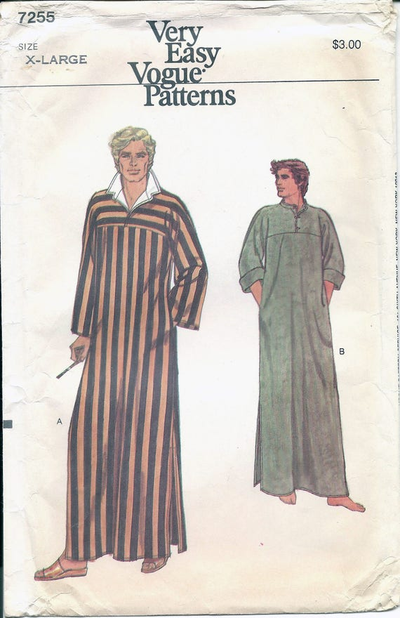 1970s Vogue 7255 Men\'s Caftan Sewing Pattern UNCUT from ...