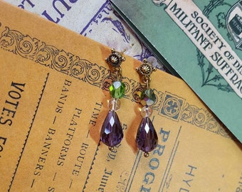 Suffragette Gold Drop Earrings