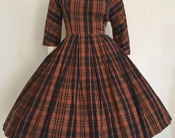 Perfect 50s 60s Autumn Plaid Day Dress Medium / Secretary / Jonathan Logan