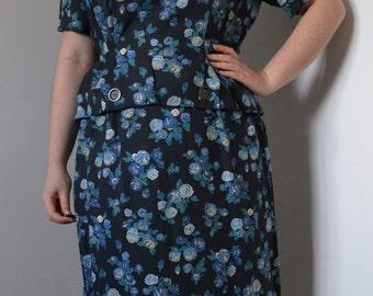 1980s does 1940s Grey Blue Floral Peplum Dress L