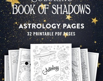 Astrology: Printable Coloring Book of Shadows Pages Grimoire PDF