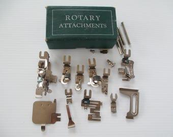 Vintage Greist Rotary Attachments, Sewing Machine Parts Accessories Hemmer, Binder, Ruffler, 19pc Lot