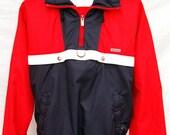 Vintage Mens Descente Color Block Windbreaker Jacket Pullover Hidden Hoody Red White Blue sz M Made in Japan