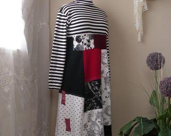 Medium to Large Patchwork Dress/ Upcycled Cotton Knit Turtleneck Dress