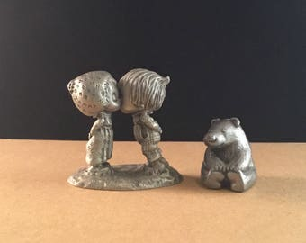 Miniature PEWTER Figurines HALLMARK Betsy Clark and Beau CUTERI Bear Vintage