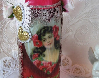 Shabby Chic Decor, Altered Wine Bottle, Shabby Chic Decor, Pink/ Red, Vintage Glass, Home and Living, Home, Ornaments and Accents