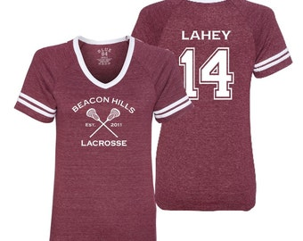 Discontinued Teen Wolf Beacon Hills Lacrosse Lahey 14 JUNIOR V-Neck T-Shirt