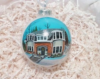 Custom house ornament, portrait handpainted on glass ball ornament. Personalized!