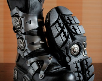 New Rock platform boots SUKLL Ghost Rider Studs Gothic Scene chunky boots cosplay boots moto scene