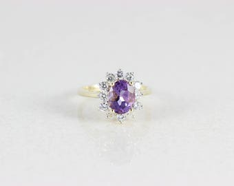 10k Yellow Gold Purple Amethyst and CZ Ring Size 7 1/2