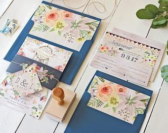 Dreamcatcher Wedding Invitation Set, Rustic Boho Dream Catcher Printable Suite, Bohemian Floral Wedding Invites, Printable or Printed