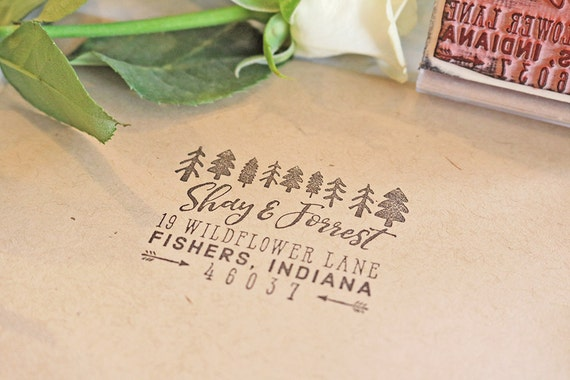 Personalized Rubber Stamps For Wedding Invitations: Trees Return Address Stamp, Personalized Rustic Rubber