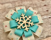 Rustic Girls Snowflake Bow -  Wood Snowflake Hair Clips - Christmas Hair Accessory for Girls - Snowflake Hair Clips -  Snowflake Hair Bow