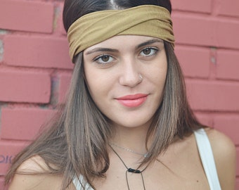 Yoga Headband, Dark Beige Headband, Beige Headwrap, Bohemian Headband, Womens Accessories, Womens Turban, Womens Headband, Vintage Headbands