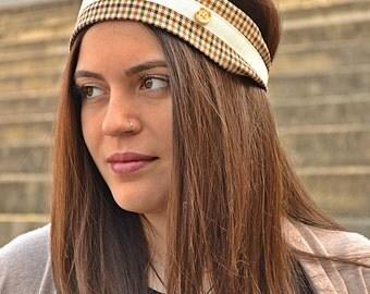 Wool Headband, Plaid Headband, Elegant Headband, Hair Accessories, Womens Turbans, Womens Turban, Womens Headbands, Vintage Headband, Gifts