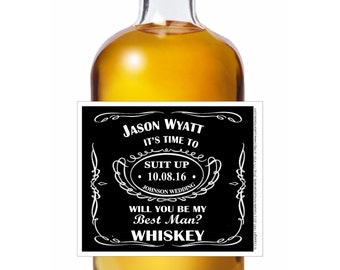 Will You Be My Groomsman Label, Whiskey Theme, Best Man, Bridesmaid, Whiskey Label, Ask a Groomsman, Will you be My Best Man (LWhisk)