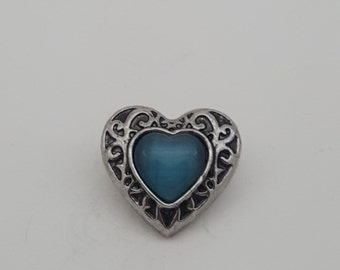 Snap Teal Blue And Silver Heart Antique Charm Snap Popper