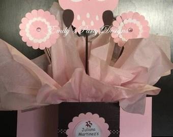 Owl Centerpiece, Baby Shower Centerpiece, Kids Party Centerpiece, Brown Pink Owl Centerpiece.