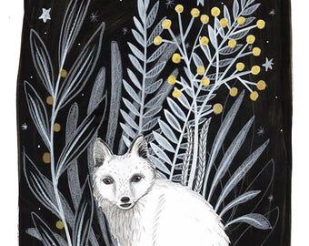 Black and white Winter Fox illustration, original painting, flora, plants, gold berries