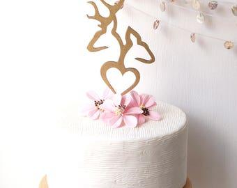 Buck and doe cake topper, wedding cake topper, deer wedding cake topper, wooden cake topper, rustic cake topper, deer antlers cake topper