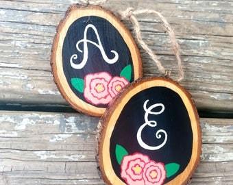 Hand Painted Wood Slice, Monogram Ornament, Chalkboard Tree Slice, Eco-Friendly, Bridesmaid Gift, Teacher Gift, Personalized Ornament,Custom