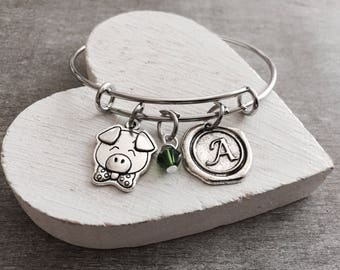 SALE, Pig, Silver Bracelet, Charm Bracelet, Pig Jewelry, Pig Gift, Pig Bangle, Pig Charm, Piggy, Pig Farmer. Silver Pig, Swine, Bangle