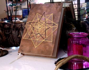 Pentagram 300 page Grimoire, Hand Painted 6x9 Blank Book of Shadows Journal
