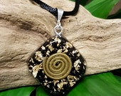 Gold and Black Tourmaline Orgone Pendant – Crystal Healing Pendant for Grounding, Balancing and Protection - EMF Protection - Small