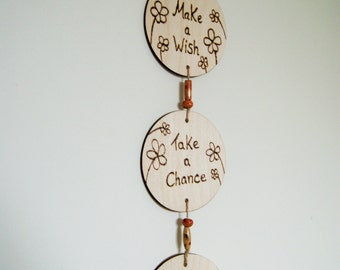 Inspirational pyrography wall hanging
