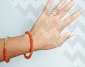 Beaded Bangle - Orange (Quartzite)