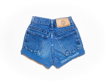 "SALE! ALL SIZES ""Helios"" Vintage High Waisted Denim Shorts / Blue Rolled Cuffed High Waisted Shorts"