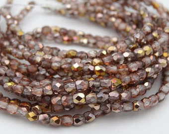 Czech Glass 3mm Fire Polished Crystal Rose Gold  50 Pieces