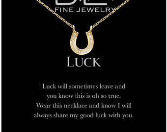 DTLA Good Luck Horseshoe Necklace in Sterling Silver with Inspirational Quote Card - Golf Plated Silver
