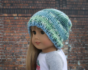 AG Doll Clothes | Hand Knitted Slouch Slouchy HAT with Blues and Greens for 18 Inch Dolls such as American Girl