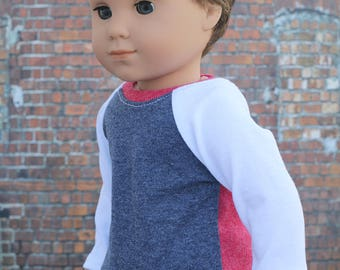 American Boy Doll Clothes - Red White Blue Colorblock BOY Long Sleeve Raglan BASEBALL TEE for 18 Inch Doll