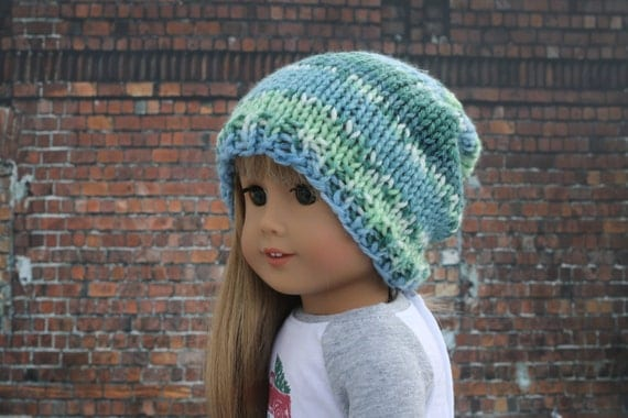 AG Doll Clothes   Hand Knitted Slouch Slouchy HAT with Blues and Greens for 18 Inch Dolls such as American Girl