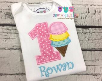 Baby Girl Ice Cream Birthday Outfit - Ice Cream Birthday Outfit - 1st Birthday Outfit - Ice cream birthday shirt