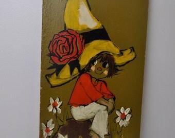 "Vintage 1970s Mod Girl Boy Portrait Big Eyes Style hand painted signed ""Walker"""