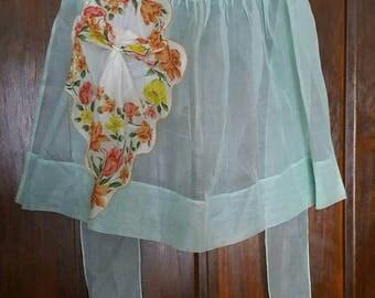 Vintage Organza Apron with Handkerchief Pocket 1950s   D608