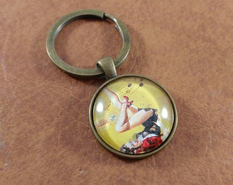 Pin-Up Girl, Brass, Keychain, Kitschy Keychain