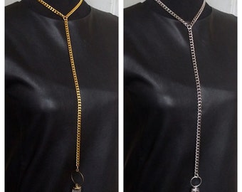 The Nyx Choker Lariat Necklace - Clear Quartz Crystal Drop on Silver or Gold Heavy Link Chain Goth Witchy High Fashion Avant Garde