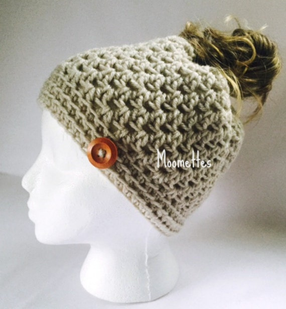 Crochet Bun Hat : Crochet Handmade Messy Bun Hat Beige Beanie Wood Button Pony Tail ...